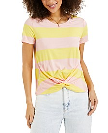 Striped Twist-Front Top, Created for Macy's