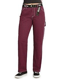 Juniors' Belted Carpenter Pants