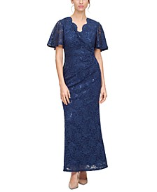 Petite Butterfly-Sleeve Lace A-Line Gown