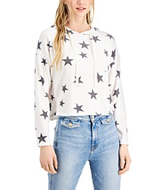Juniors' Star Printed Cozy Knit Hoodie