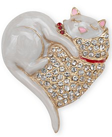 Gold-Tone Pavé Heart Cat Pin, Created for Macy's