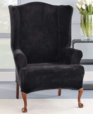 Stretch Plush 1-Piece Wing Chair Slipcover