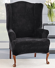 Sure Fit Stretch Plush 1-Piece Wing Chair Slipcover