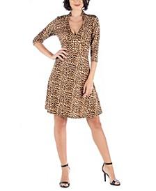 Women's Leopard Print V-Neck A-Line Dress