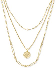 "14k Gold-Plated Crystal & Medallion Charm Layered Necklace, 16"" + 2"" extender"