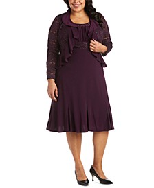 Plus Size Lace-Trim Dress & Ruffled Lace Jacket