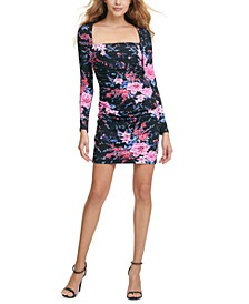 Square-Neck Floral-Print Bodycon Dress