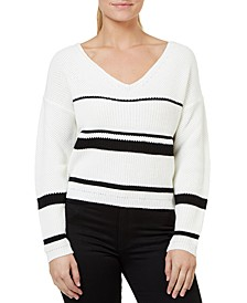 Striped Cropped Lace-Up Sweater