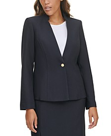 Single-Button Notched-Collar Blazer