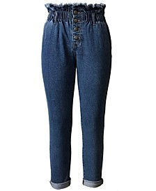 Juniors' Button-Front Paperbag-Waist Jeans