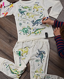 Dinosaur Color In Pajamas With Fabric Pens Craft Kit