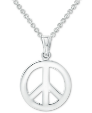 """Giani Bernini Peace Sign 18"""" Pendant Necklace in Sterling Silver, Created for Macy's"""