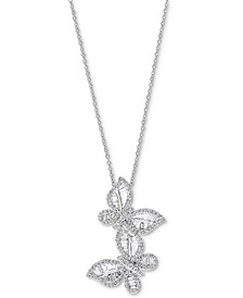 """EFFY® Diamond Butterfly 18"""" Pendant Necklace (1-3/8 ct. t.w.) in 14k White Gold"""