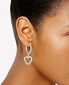 Pavé Heart Lock Charm Hoop Earrings