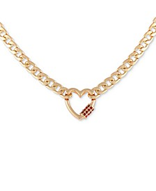 "Gold-Tone Crystal Heart Charm Necklace, 16"" + 2"" extender"