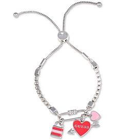 Silver-Tone Crystal Multi Charm Slider Bracelet