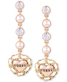 Rose Gold-Tone Imitation Pearl & Crystal Heart Drop Earrings
