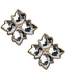 Gold-Tone Crystal Floret Button Earrings