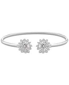 Diamond Flower Flexy Open Bangle Bracelet (1/4 ct. t.w.) in Sterling Silver, Created for Macy's