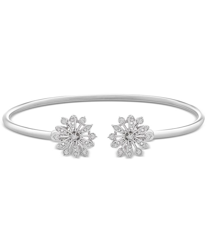Wrapped - Diamond Flower Flexy Open Bangle (1/4 ct. t.w.) in Sterling Silver