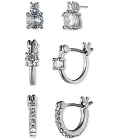 3-Pc. Set Crystal Drop & Hoop Earrings