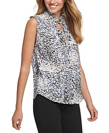 Printed Pleated-Trim Top