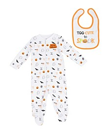Boys Halloween Footie and Bib Set