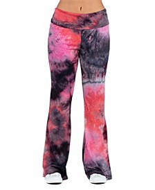 Women's Plus Size Tie Dye Print Bell Bottom Sweatpants
