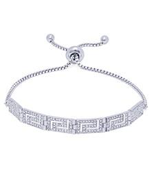 Diamond Accent Greek Key Adjustable Fine Silver Plate Or Gold Plate Bracelet