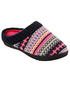 Isotoner Women's Sweater Knit Becca Comfort Hoodback Slippers