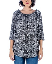 Women's Plus Animal Print Elastic Neckline Tunic Top