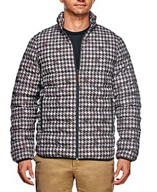 Men's Slim Fit Houndstooth Print Puffer Jacket and a Free Face Mask