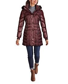 Women's Faux Fur Trim Hooded Puffer Coat