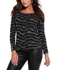 Black Label Metallic Puff Sleeve Pullover Sweater