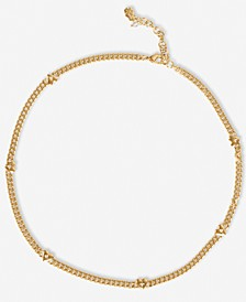 """Gold-Tone Pavé Heart Curb Chain Collar Necklace, 17"""" + 2"""" extender"""