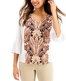 Printed Ruffle-Sleeve Top, Created for Macy's
