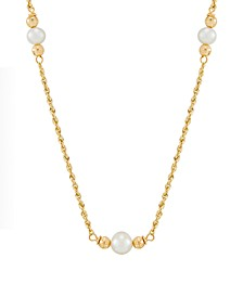 "Cultured Freshwater Pearl (5-7mm) with Bead Stations 17"" Necklace in 10k Gold"