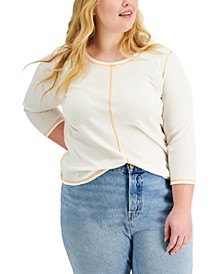 Plus Size Waffle-Knit 3/4-Sleeve Top, Created for Macy's