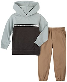 Little Boys Color Blocked Fleece Hoodie with Khalo Twill Pant, 2 Piece Set
