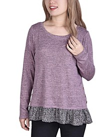 Women's Long Sleeve Tunic with Ruffled Hem