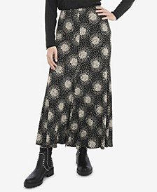 Plus Size Mono Scatter Heart Jersey Pull On Skirt