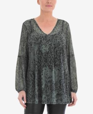 Plus Size Mesh Blouse with Blouson Sleeve