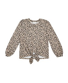 Big Girls Hachi Long Sleeve Tie Front with Animal Print Top