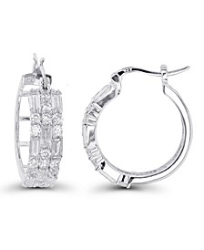 Cubic Zirconia Rhodium Plated Round and Baguette Hoop Earrings