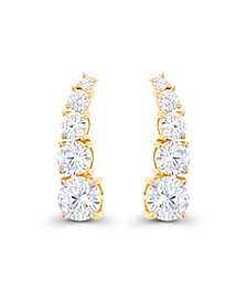 Cubic Zirconia 14K Gold Graduated Curved Ear Climbers