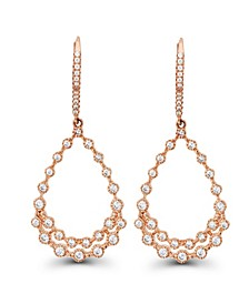Cubic Zirconia Bezel 14K Rose Gold Diamond Cut Pear Shaped Earrings