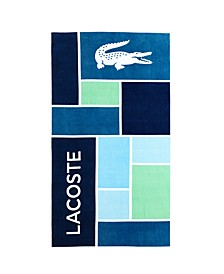 Cotton Colorblocked Croc Logo Beach Towel