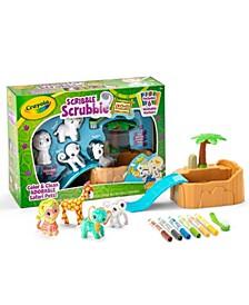 Scribble Scrubbie Safari Animals Tub Set, Color & Wash Creative Toy, Gift for Kids, Age 3, 4, 5, 6