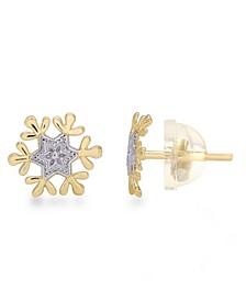 Children's Frozen Snowflake Stud Earrings in 14k Gold