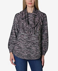 Long Sleeve Space Dye Rounded Bottom Sweater with Attached Scarf
